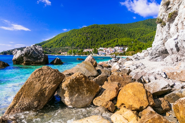 Insel skopelos, dorf neo klima und strand hovolos. sporaden, griechenland