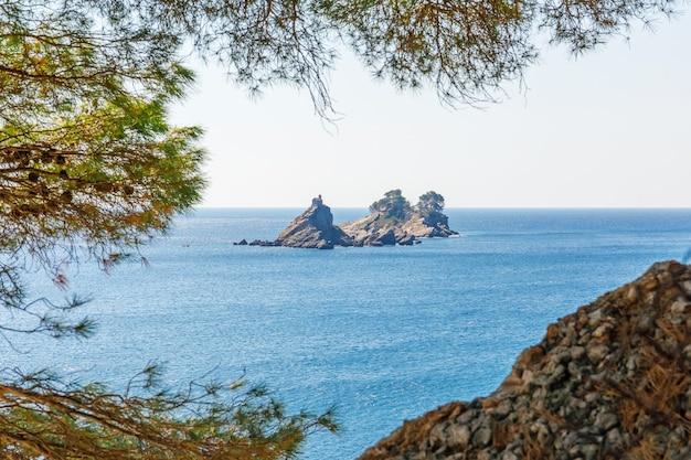 Inseln katic und st. sonntag mit kirche in der nähe von petrovac stadt in montenegro durch kiefernzweige in der adria