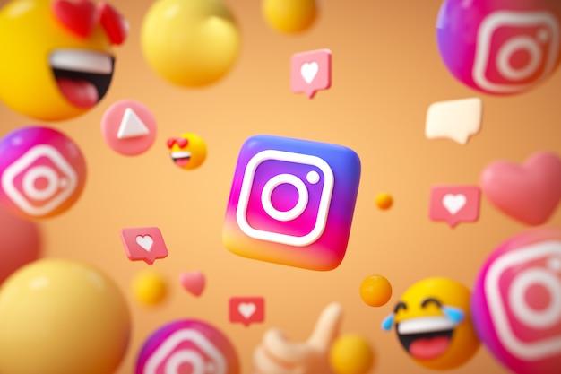 Instagram-anwendungslogo mit emoji und schwebenden objekten
