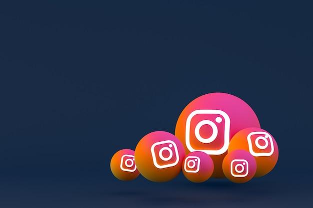 Instagram icon set 3d-rendering auf blauem hintergrund