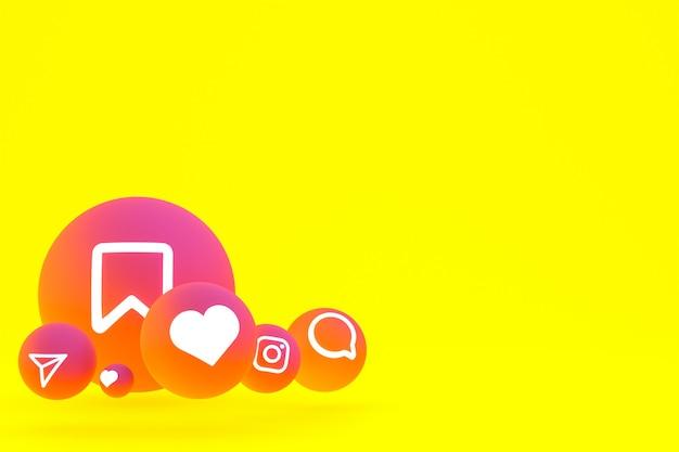 Instagram icon set 3d-rendering auf gelbem hintergrund