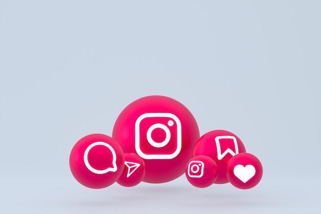 Instagram icon set 3d-rendering auf grauem hintergrund