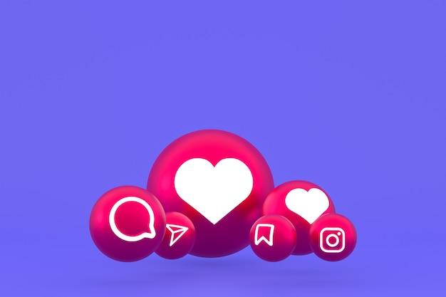 Instagram icon set 3d-rendering auf lila hintergrund