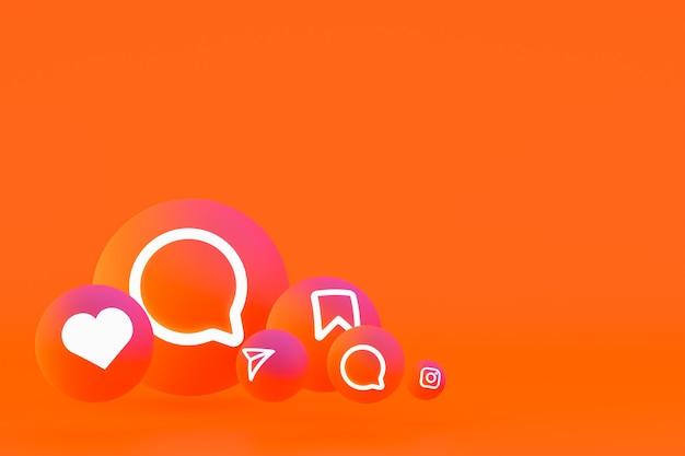 Instagram icon set 3d-rendering auf orangem hintergrund
