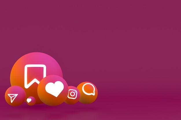 Instagram icon set 3d-rendering auf rotem hintergrund