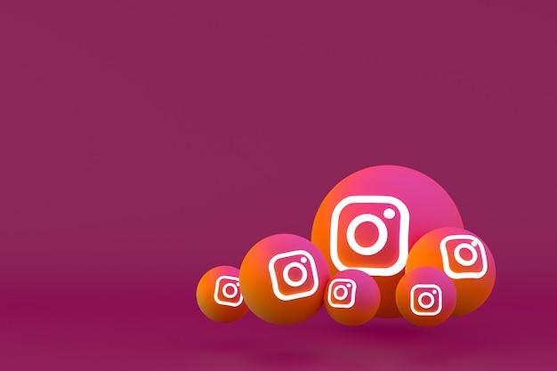 Instagram icon set rendering auf rot