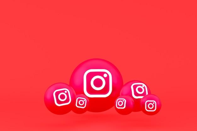 Instagram icon set rendering auf rotem hintergrund