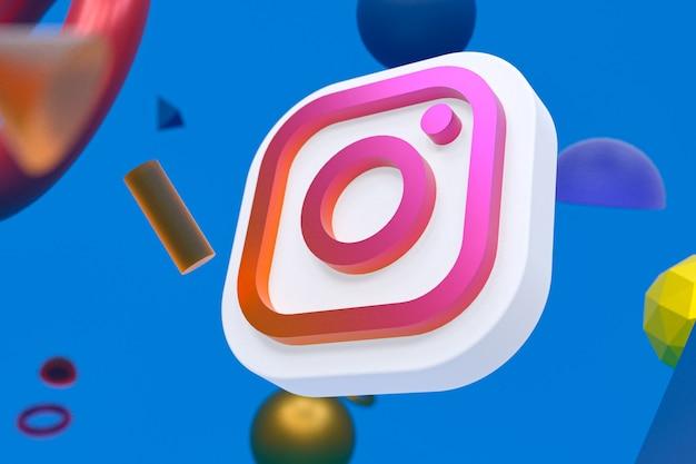 Instagram ig logo auf abstraktem geometrischem hintergrund