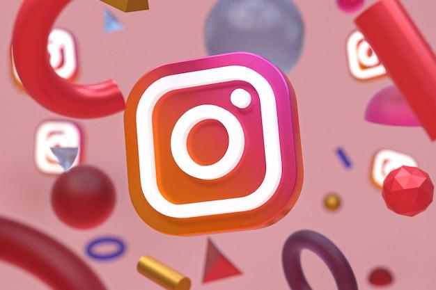 Instagram ig logo auf abstrakter geometrie