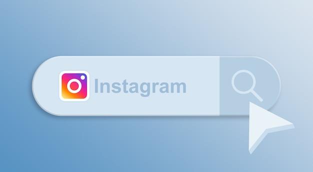 Instagram in der suchleiste mit mauszeiger 3d