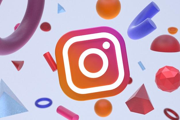 Instagram-logo auf abstraktem geometriehintergrund Premium Fotos