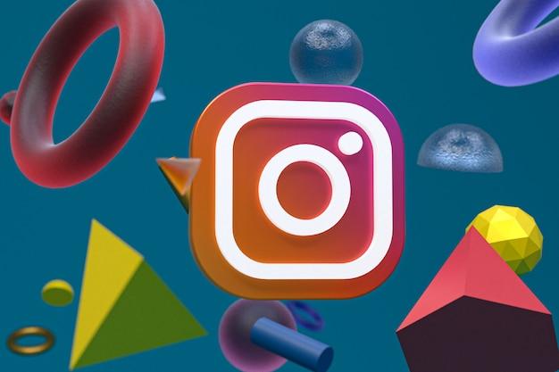 Instagram-logo auf abstraktem geometriehintergrund