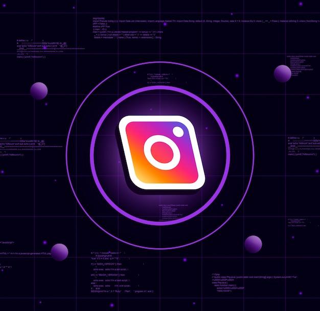 Instagram-logo auf realistischem technologiehintergrund