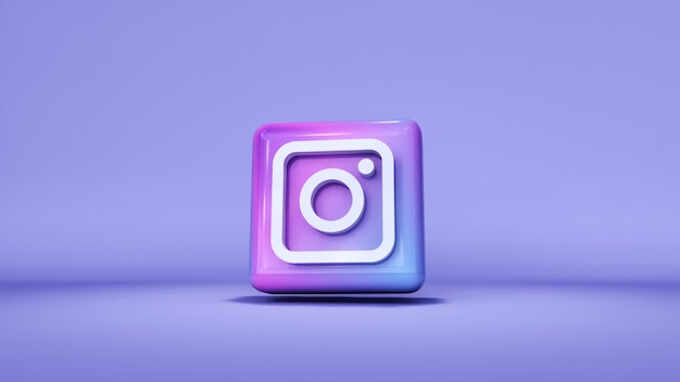 Instagram logo button icon 3d mit kopierraum. 3d-rendering