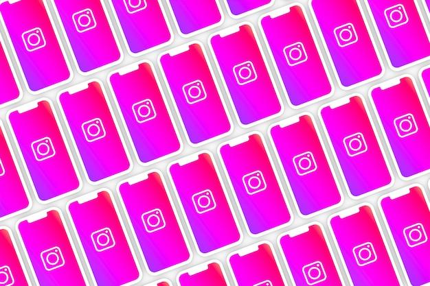 Instagram logo hintergrund auf dem bildschirm smartphone oder handy 3d rendern