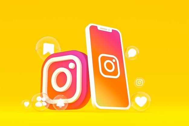 Instagram-symbol auf dem bildschirm handy 3d-rendering
