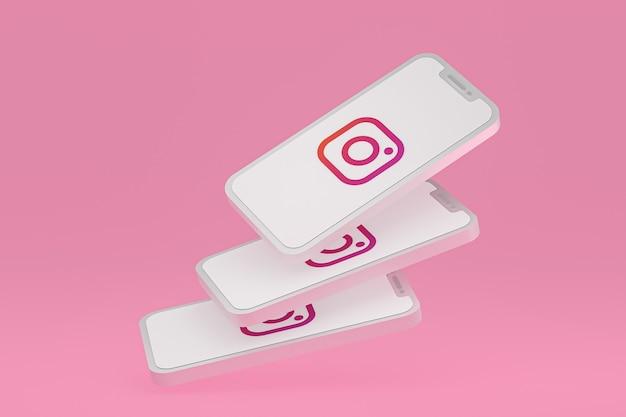 Instagram-symbol auf dem bildschirm handys 3d-rendering