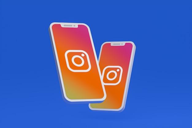 Instagram-symbol auf dem bildschirm smartphone oder handy 3d-rendering