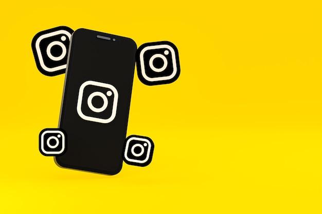 Instagram-symbol auf dem bildschirm smartphone oder handy und instagram-reaktionen lieben 3d-rendering auf gelbem hintergrund