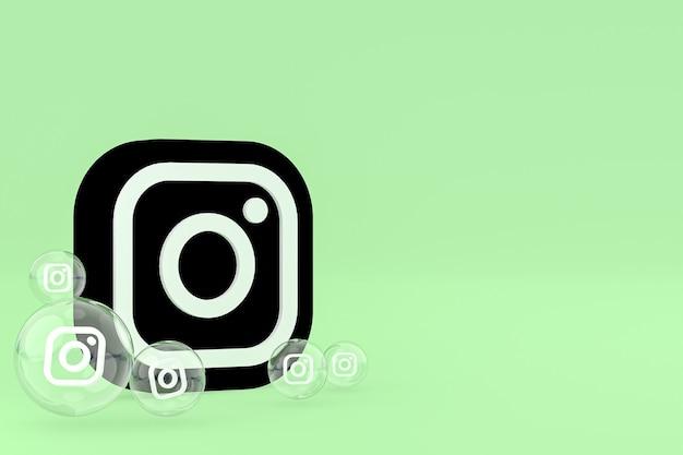 Instagram-symbol auf dem bildschirm smartphone oder handy und instagram-reaktionen lieben 3d-rendering auf grünem hintergrund