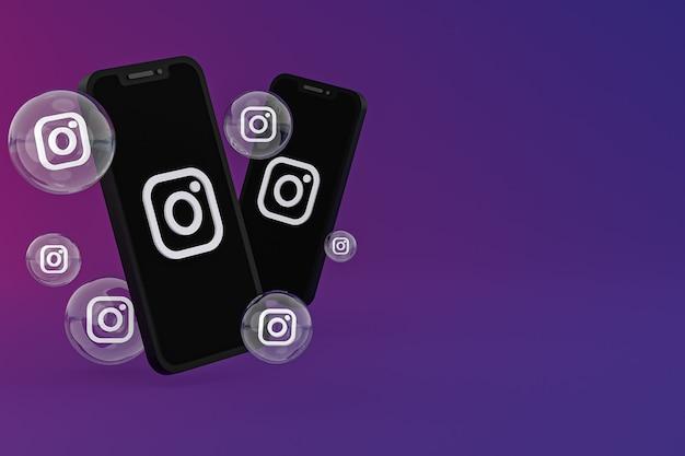 Instagram-symbol auf dem bildschirm smartphone oder handy und instagram-reaktionen lieben 3d-rendering auf lila hintergrund