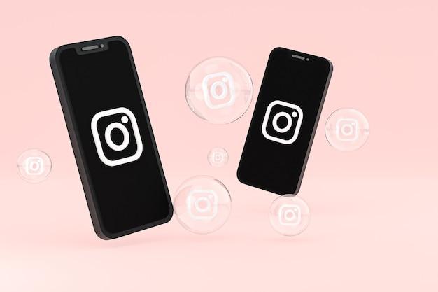 Instagram-symbol auf dem bildschirm smartphone oder handy und instagram-reaktionen lieben 3d-rendering auf rosa hintergrund