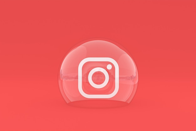 Instagram-symbol auf dem bildschirm smartphone oder handy und instagram-reaktionen lieben 3d-rendering auf rotem hintergrund