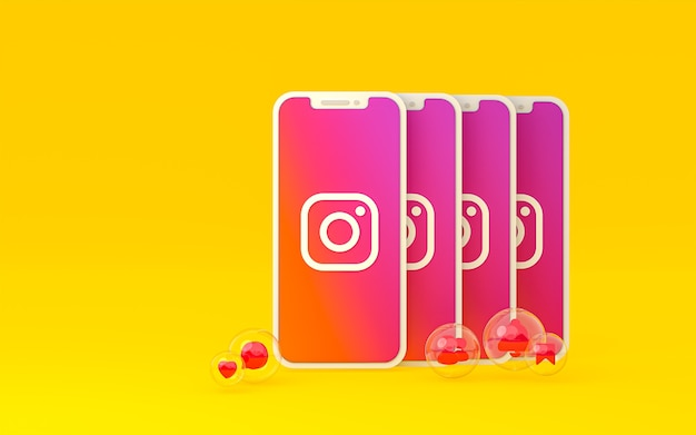 Instagram-symbol auf dem bildschirm smartphone oder handy und instagram-reaktionen lieben 3d-rendering