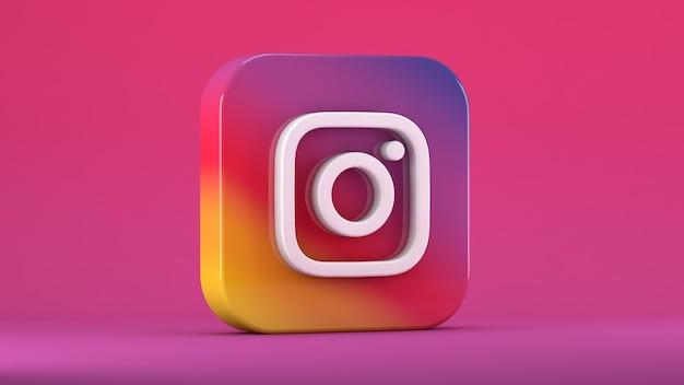 Instagram-symbol isoliert auf rosa in einem quadrat mit stumpfen kanten