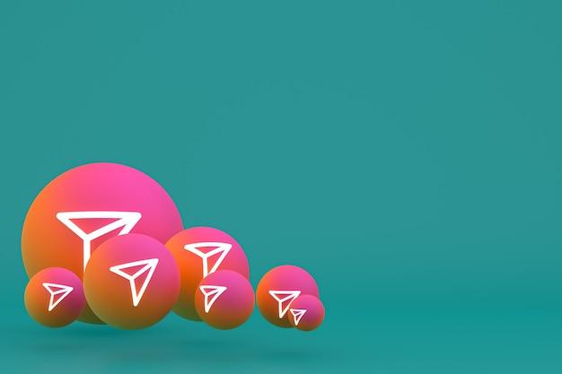 Instagram-symbol stellte 3d-rendering auf grünem hintergrund ein
