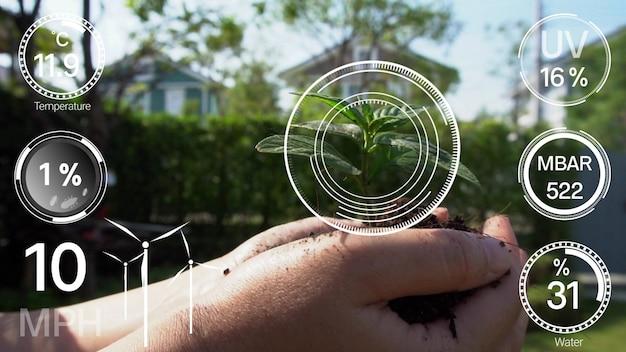 Intelligente digitale landwirtschaftstechnologie durch futuristische sensordatenerfassung