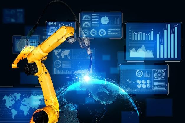 Intelligente industrieroboterarme für die digitale fabrikproduktionstechnik
