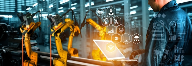 Intelligente industrieroboterarme für die digitale fabrikproduktionstechnologie