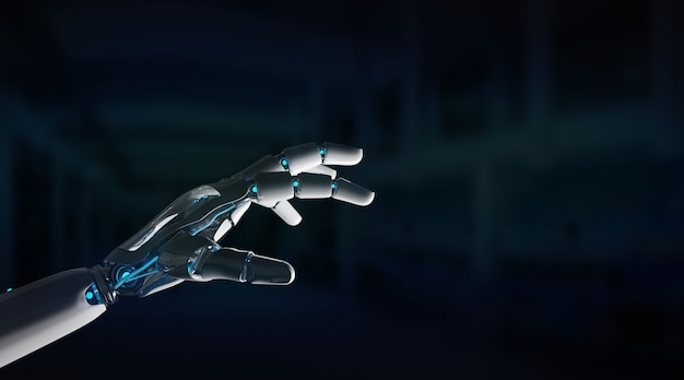 Intelligente robotermaschine, die finger zeigt