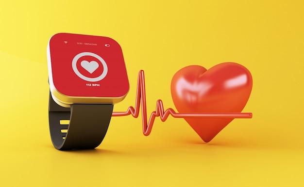 Intelligente uhr 3d mit gesundheits-app-ikone