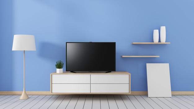 Intelligenter fernseher mit leerem schwarzem bildschirm, der am schrank hängt, modernes blaues wohnzimmer. 3d rende