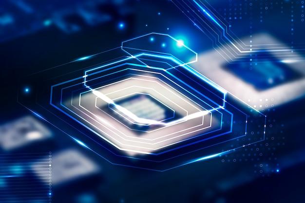 Intelligenter mikrochip-hintergrund auf einem motherboard-nahaufnahme-technologie-remix