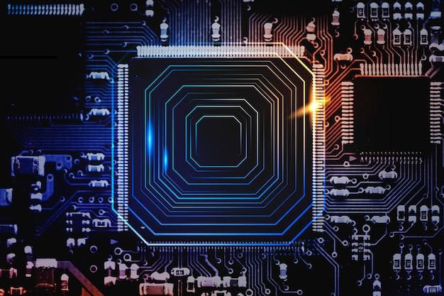 Intelligenter mikrochip-hintergrund auf einer hauptplatinen-nahaufnahmetechnologie