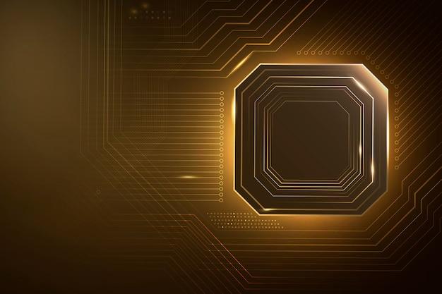Intelligenter mikrochip-technologiehintergrund in farbverlauf gold