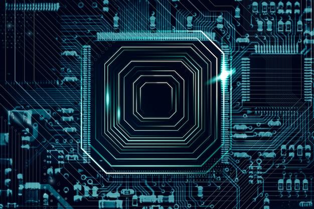 Intelligenter mikrochiphintergrund auf einer hauptplatinennahaufnahmetechnologie