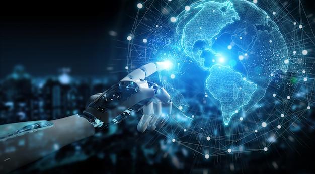 Intelligenter roboter cyborg mit digitaler globus-schnittstelle