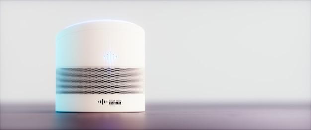 Intelligenter, sprachaktivierter assistent für zu hause. 3d-rendering-konzept der weißen high-tech-futuristischen spracherkennungstechnologie der künstlichen intelligenz auf hellviolettem hintergrund. ultrawide-bild.
