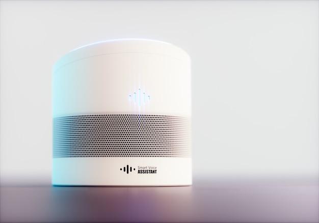 Intelligenter, sprachaktivierter assistent für zu hause. 3d-rendering-konzept der weißen high-tech-futuristischen spracherkennungstechnologie der künstlichen intelligenz auf hellviolettem hintergrund.