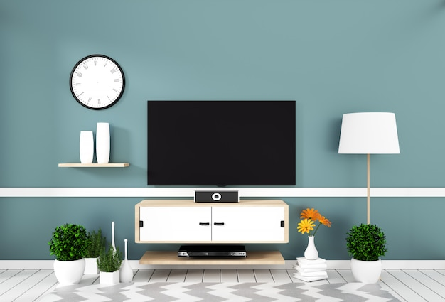 Intelligentes fernsehen mit dem leeren bildschirm, der an der wandminze auf weißem bretterbodenmodell hängt