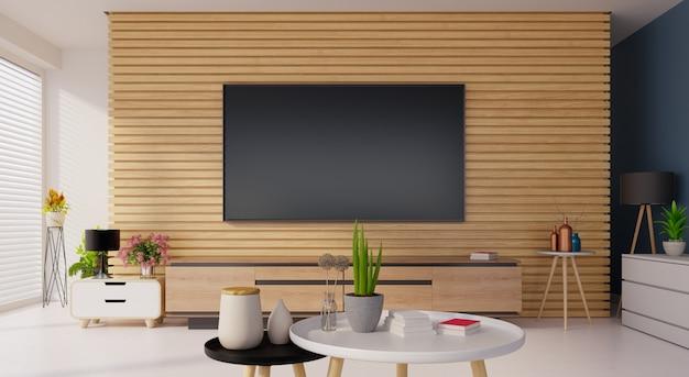 Intelligentes fernsehmodell auf der hölzernen wand im modernen innenraum, wiedergabe 3d
