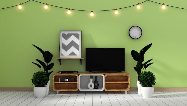 Intelligentes fernsehmodell auf grüner wand im japanischen wohnzimmer. 3d-rendering