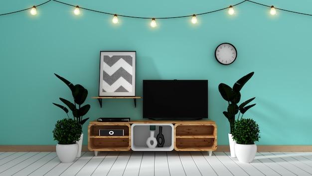 Intelligentes fernsehmodell auf tadelloser wand im japanischen wohnzimmer. 3d-rendering