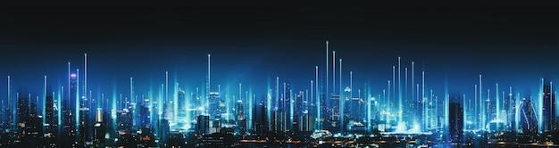 Intelligentes netzwerk und verbindungstechnologiekonzept mit bangkok-stadt bei nacht in thailand, panoramaansicht