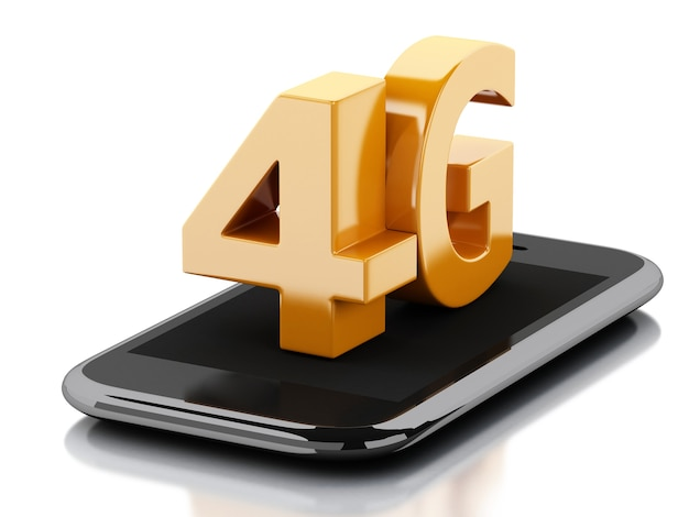 Intelligentes telefon 3d mit drahtlosem zeichen 4g lte. technologie-konzept