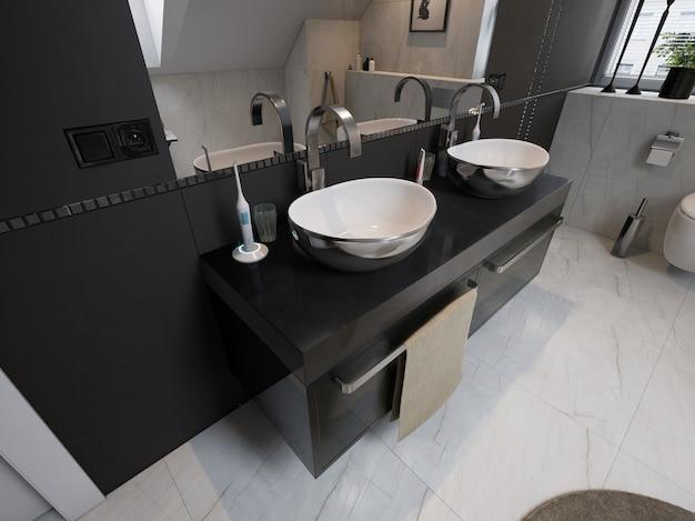 Interieur des modernen badezimmers mit waschbecken und toilette